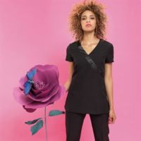 Rose beauty and spa wrap satin trim tunic Thumbnail